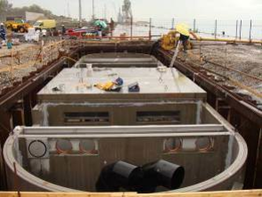 Impianto di trattamento acque in continuo, portata 1200 l/s
